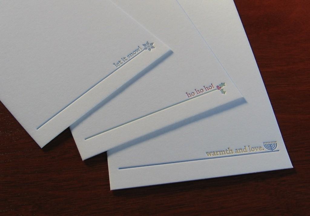 mix and match letterpress holiday cards