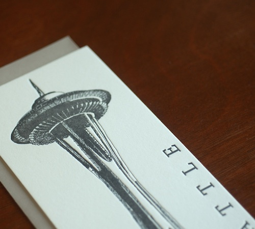 space needle letterpress card