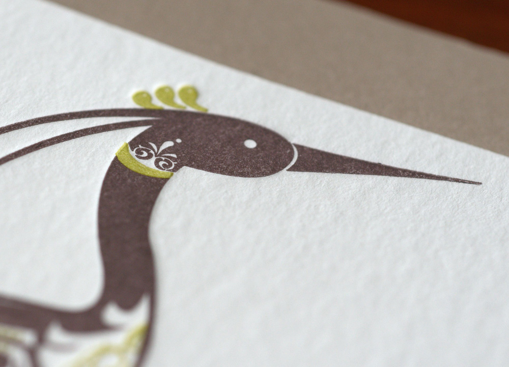 crane letterpress flat card