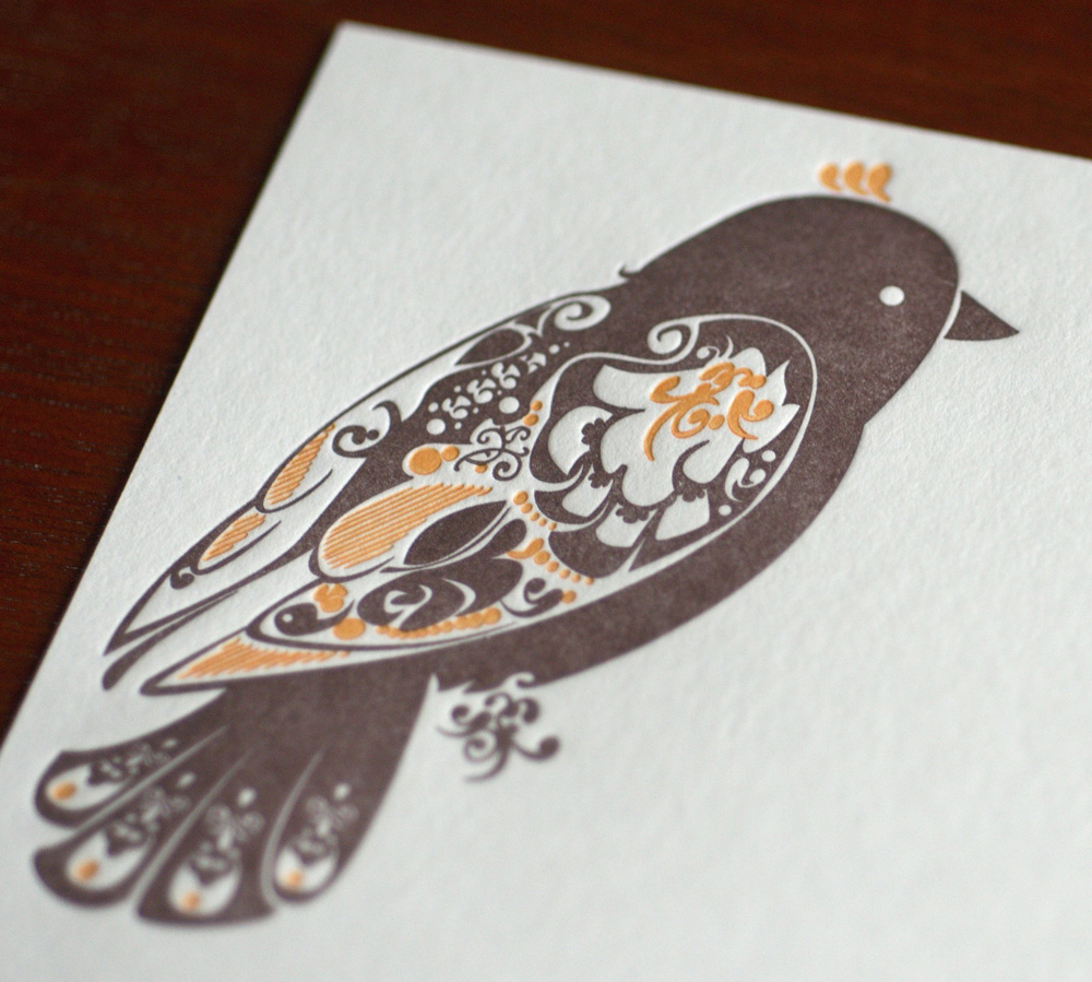finch letterpress flat card