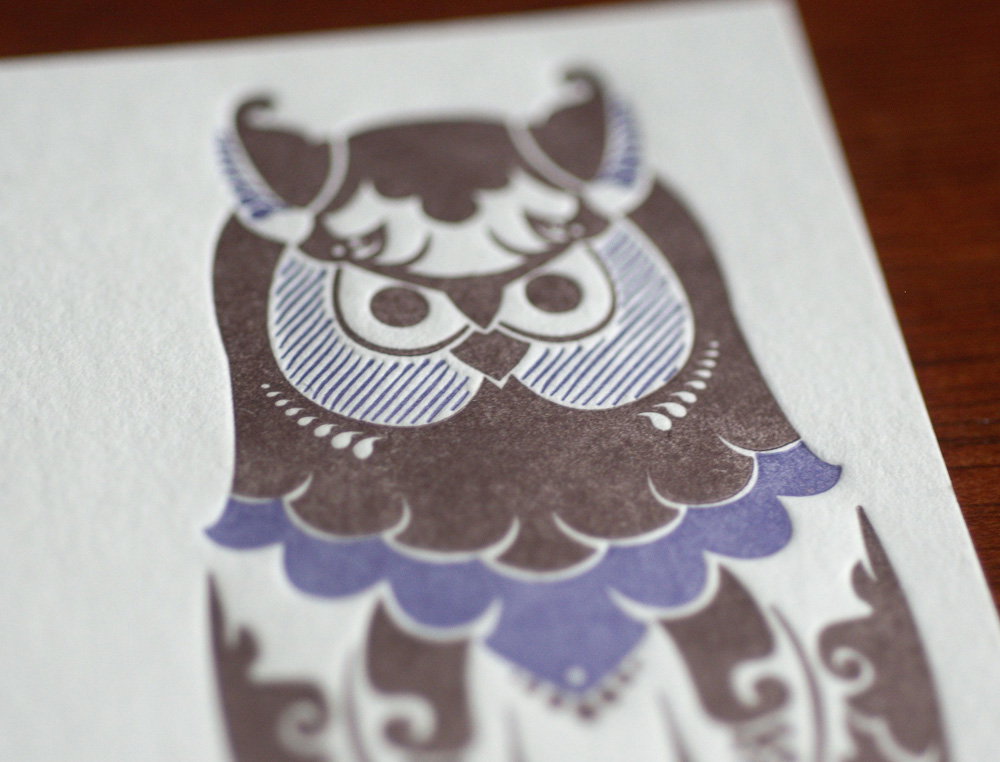 owl letterpress flat card