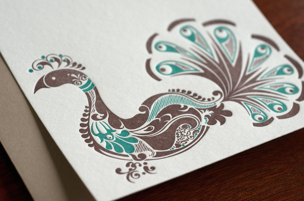 peacock letterpress flat card