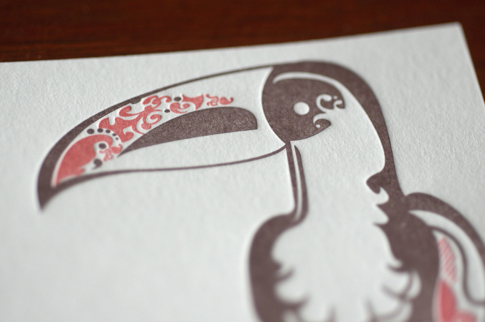 toucan letterpress flat card